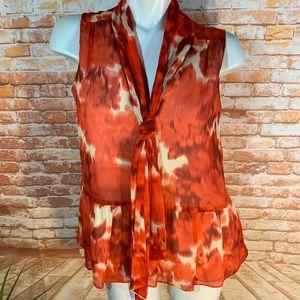 J. CREW 100% Silk Sleeveless Top w/ Peplum & Bow